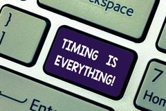 Conceptual hand writing showing Timing Is Everything. Business photo showcasing when the time is right, everything will. Fall into place Keyboard key Intention royalty free stock images