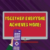 Conceptual hand writing showing Together Everyone Achieves More. Business photo text Members create synergy strong sense royalty free illustration
