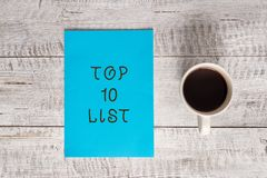 Conceptual hand writing showing Top 10 List. Business photo text the ten most important or successful items in a stock photo