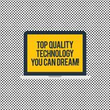 Conceptual hand writing showing Top Quality Technology You Can Dream. Business photo text Best modern technological. Features Laptop Monitor Personal Computer stock illustration
