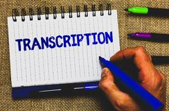 Conceptual hand writing showing Transcription. Business photo showcasing Written or printed process of transcribing words text voi. Ce Notepad marker creative stock images