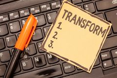 Conceptual hand writing showing Transform. Business photo showcasing Make reamarkable change in form nature or. Appearance of something stock image