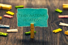 Conceptual hand writing showing Transnational Relations. Business photo showcasing International Global Politics Relationship Dipl stock image