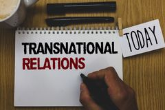 Conceptual hand writing showing Transnational Relations. Business photo text International Global Politics Relationship Diplomacy royalty free stock photo