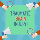 Conceptual hand writing showing Traumatic Brain Injury. Business photo text Insult to the brain from an external. Mechanical force Hu analysis Hands Holding royalty free illustration