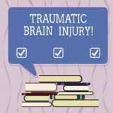 Conceptual hand writing showing Traumatic Brain Injury. Business photo text Insult to the brain from an external. Mechanical force Uneven Pile of Hardbound royalty free illustration