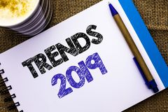 Conceptual hand writing showing Trends 2019. Business photo showcasing Current Movement Latest Branding New Concept Prediction wri. Tten Notebook Book the jute stock photos