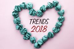 Conceptual hand writing showing Trends 2018. Business photo text Current Movement Latest Modern Branding New Concept Prediction wr. Itten Plain background within stock photography