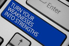 Conceptual hand writing showing Turn Your Weaknesses Into Strengths. Business photo text work on your defects to get raid of them. Keyboard blue key create royalty free stock images