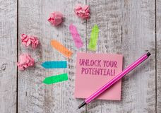 Conceptual hand writing showing Unlock Your Potential. Business photo text release possibilities Education and good. Conceptual hand writing showing Unlock Your stock photos