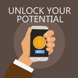 Conceptual hand writing showing Unlock Your Potential question. Business photo showcasing Maximize your Ability Use God. Given gift royalty free illustration