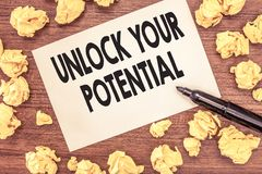Conceptual hand writing showing Unlock Your Potential question. Business photo showcasing Maximize your Ability Use God. Given gift stock photos