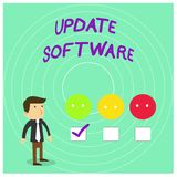 Conceptual hand writing showing Update Software. Business photo showcasing replacing program with a newer version of. Conceptual hand writing showing Update royalty free illustration