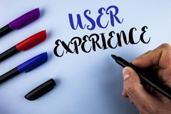 Conceptual hand writing showing User Experience. Business photo text Customer experience feedback web infrastructure development w. Ritten by Man plain Royalty Free Stock Photography