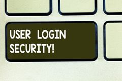 Conceptual hand writing showing User Login Security. Business photo text set of credentials used to authenticate. Demonstrating Keyboard key Intention to create stock photography