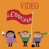 Conceptual hand writing showing Video Lessons. Business photo text Online Education material for a topic Viewing and learning.  Stock Illustration
