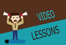 Conceptual hand writing showing Video Lessons. Business photo text Online Education material for a topic Viewing and learning.  Royalty Free Illustration