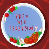 Conceptual hand writing showing Video Web Television. Business photo showcasing television shows hosted on the channel s. Is websites Hand Drawn Lamb Chops Herb vector illustration