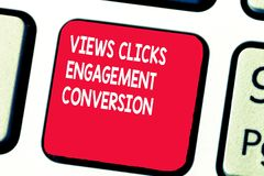 Conceptual hand writing showing Views Clicks Engagement Conversion. Business photo text Social media platform. Optimization stock image