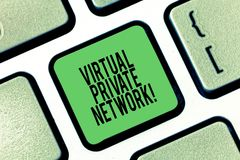 Conceptual hand writing showing Virtual Private Network. Business photo showcasing network that is constructed using. Public wires Keyboard key Intention to royalty free illustration