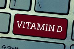 Conceptual hand writing showing Vitamin D. Business photo showcasing Nutrient responsible for increasing intestinal absorption.  stock image