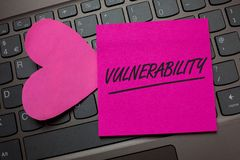 Conceptual hand writing showing Vulnerability. Business photo text Information susceptibility systems bug exploitation attacker Ke. Yboard grey keys pink paper royalty free stock image