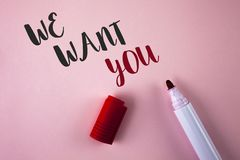 Conceptual hand writing showing We Want You. Business photo showcasing Employee Help Wanted Workers Recruitment Headhunting Employ. Ment written Plain Pink stock photos
