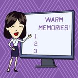 Conceptual hand writing showing Warm Memories. Business photo text Something that you remember with pleasure Sweet. Conceptual hand writing showing Warm Memories stock illustration