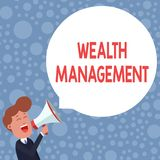 Conceptual hand writing showing Wealth Management. Business photo showcasing Sustain and grow long term prosperity. Conceptual hand writing showing Wealth royalty free stock photography