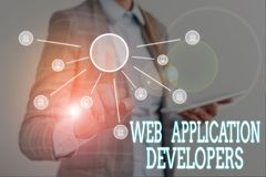 Conceptual hand writing showing Web Application Developers. Business photo text Internet programming experts Technology