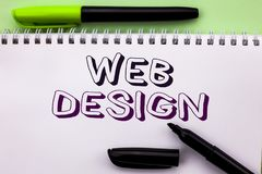 Conceptual hand writing showing Web Design. Business photo showcasing Web Layout Template Responsive Webpage Webdesign Sketch Navi. Gation written Notebook Book Royalty Free Stock Images