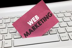 Conceptual hand writing showing Web Marketing. Business photo showcasing Electronic commerce Advertising through internet Online s. Eller stock photography