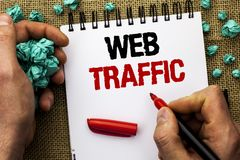 Conceptual hand writing showing Web Traffic. Business photo text Internet Boost Visitors Audience Visits Customers Viewers written Royalty Free Stock Photo