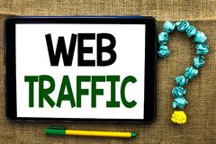 Conceptual hand writing showing Web Traffic. Business photo text Internet Boost Visitors Audience Visits Customers Viewers written Stock Photos