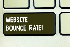 Conceptual hand writing showing Website Bounce Rate. Business photo text Internet marketing term used in web traffic. Analysis Keyboard key Intention to create royalty free stock image