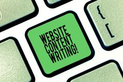 Conceptual hand writing showing Website Content Writing. Business photo showcasing writing an informative content for a. Websites Keyboard key Intention to royalty free illustration