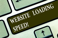 Conceptual hand writing showing Website Loading Speed. Business photo text time takes to display the entire content of a. Webpage Keyboard key Intention to vector illustration
