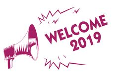 Conceptual hand writing showing Welcome 2019. Business photo showcasing New Year Celebration Motivation to Start Cheers Congratula. Tions Purple megaphone vector illustration