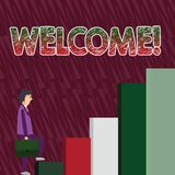 Conceptual hand writing showing Welcome. Business photo text Warm salutation acknowledgement for someone amiable loved. Conceptual hand writing showing Welcome stock illustration