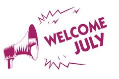 Conceptual hand writing showing Welcome July. Business photo showcasing Calendar Seventh Month 31days Third Quarter New Season Pur. Ple megaphone important Stock Illustration