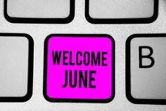 Conceptual hand writing showing Welcome June. Business photo text Calendar Sixth Month Second Quarter Thirty days Greetings Keyboa. Rd purple key Intention stock image