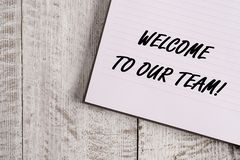 Conceptual hand writing showing Welcome To Our Team. Business photo showcasing introducing another demonstrating to your. Conceptual hand writing showing Welcome stock photos