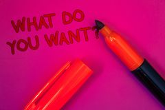 Conceptual hand writing showing What Do You Want Question. Business photo text Aspiration Contemplation Need Contemplate Aspire Ma. Genta color platform dark red stock photography
