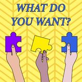 Conceptual hand writing showing What Do You Want Question. Business photo text say or write in order to ask. Conceptual hand writing showing What Do You Want stock illustration