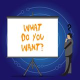 Conceptual hand writing showing What Do You Wantquestion. Business photo showcasing Aspiration Contemplation Need. Conceptual hand writing showing What Do You royalty free illustration