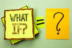 Conceptual hand writing showing What If Question. Business photo showcasing What Mean Question Ask Frequently Help Solving Support. Faq written Yellow Sticky royalty free stock photo
