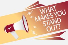 Conceptual hand writing showing What Makes You Stand Out question. Business photo text asking someone about his qualities Megaphon. E loudspeaker bubble Royalty Free Stock Photography