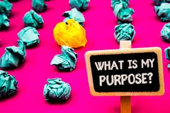 Conceptual hand writing showing What Is My Purpose Question. Business photo text Direction Importance Discernment Reflection Black. Board with white letter pink royalty free stock photos