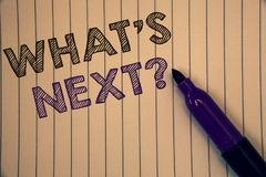 Conceptual hand writing showing What Is Next Question. Business photos showcasing Following steps Guidance to continue moving or w. Conceptual hand writing Stock Image