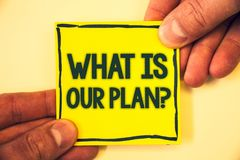 Conceptual hand writing showing What Is Our Plan Question. Business photo text Mission Purpose Agenda Strategize Brainstorming Gri. Zzled background retain black royalty free stock images
